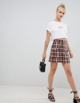 ASOS DESIGN boucle check double breasted mini skirt with pearl buttons / modern tweed