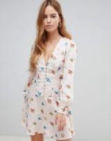 ASOS DESIGN button through mini tea dress in floral jacquard | pretty deep V-neckline frock