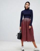 ASOS DESIGN check lurex pleat midi skirt in red   retro fashion