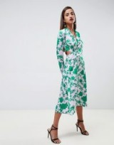 ASOS DESIGN collar midi tea dress in floral | green cut-out frock | crossover design