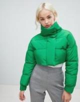 ASOS DESIGN cropped puffer jacket Green