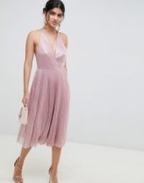 ASOS DESIGN midi dress in pleated sequin soft pink.