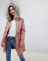 ASOS DESIGN parka with detachable faux fur liner in pink | drawstring wiast