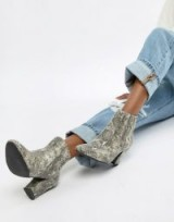 ASOS DESIGN Reminisce chelsea ankle boots in snake