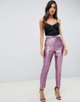 ASOS DESIGN slim trousers in metallic pink