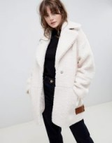 ASOS DESIGN teddy borg biker in cream | luxe style autumn coats