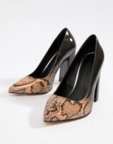 ASOS DESIGN Wide Fit Palmer pointed high heels in Ombre Snake ~ block heel courts