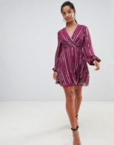 ASOS DESIGN Petite exclusive sequin wrap dress with 70's sleeve | sequinned party frock