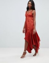 ASOS DESIGN Tall satin midaxi slip dress with lace trim in rust | handkerchief hem