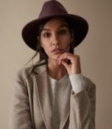 REISS AVA FELT FEDORA BERRY ~ dark-red wide brimmed hat ~ stylish accessory