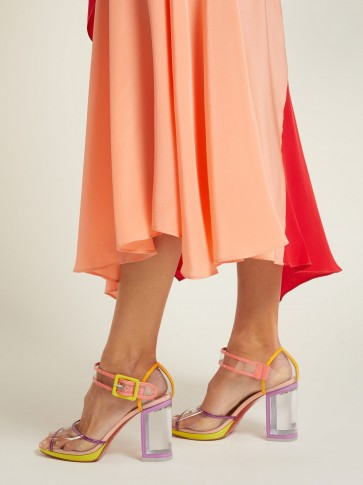 CHRISTIAN LOUBOUTIN Barbaclara 100 multicoloured patent-leather and PVC sandals ~ clear chunky heels