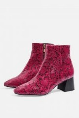 TOPSHOP Babe Pink Snake Print Ankle Boots