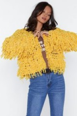 NASTY GAL Bad Romance Chenille Jacket in gold – shaggy knitwear