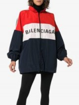 BALENCIAGA red and blue logo colourblock windbreaker