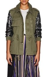 BARNEYS NEW YORK Sequined-Sleeve Olive Cotton Twill Military Jacket ~ utilitarian glamour