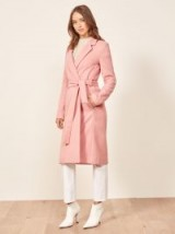 Reformation Barton Coat in Rosy | pink belted wrap