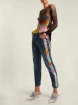 GERMANIER Bead-embellished high-rise straight-leg jeans ~ dark blue denim
