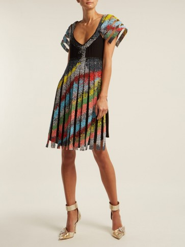 GERMANIER Bead-embellished tulle and black jersey mini dress
