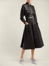 DODO BAR OR Belted black leather dress ~ luxe fit and flare
