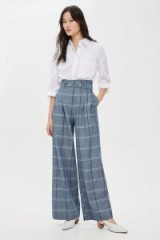 TOPSHOP Blue Belted Wide Leg Trousers / checked pants