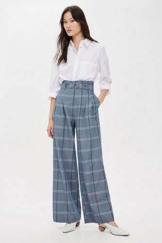 best wholesaler first rate promo code TOPSHOP Blue Belted Wide Leg Trousers / checked pants ...