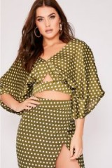 BINKY GREEN POLKA DOT SATIN KIMONO SLEEVE TOP | wide sleeved crop