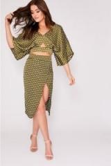 BINKY GREEN POLKA DOT SATIN THIGH SPLIT SKIRT | high slit skirts