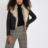 River Island Black faux fur trim biker jacket – glamorous winter jacket