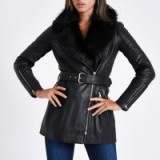 RIVER ISLAND Black faux fur trim leather belted coat – luxe zip detail jacket
