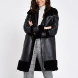 RIVER ISLAND Black faux leather oversized aviator jacket – luxe style winter coats