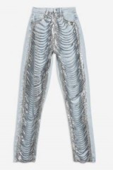 TOPSHOP Bleach Mom Chainmail Fringe Jeans