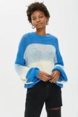 Topshop Block Stripe Fluffy Jumper in Blue | slouchy sweaters
