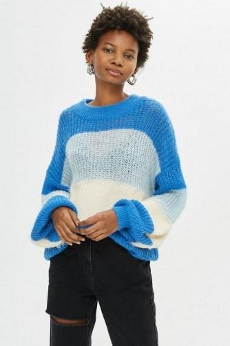 Topshop Block Stripe Fluffy Jumper in Blue | slouchy sweaters - flipped