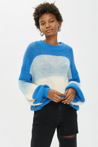 Topshop Block Stripe Fluffy Jumper in Blue | slouchy sweaters