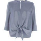 RIVER ISLAND Blue satin tie front top