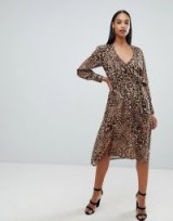 Boohoo long sleeve wrap front midi dress in leopard in Brown ~ glam animal prints