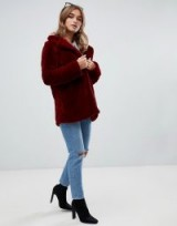 Boohoo Petite faux fur coat in burgundy – dark red winter jackets