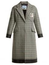 PRADA Bow-trim houndstooth wool-blend coat / black trimmed dogtooth overcoat