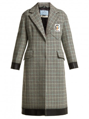 PRADA Bow-trim houndstooth wool-blend coat / black trimmed dogtooth overcoat