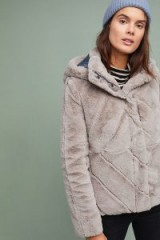 Ruby & Ed Brena Faux-Fur Coat in Grey / fluffy hooded jacket