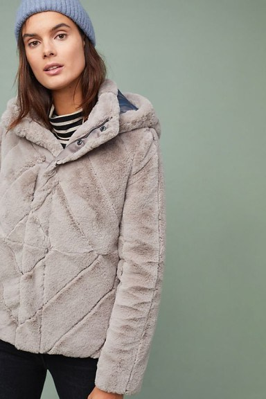 Ruby & Ed Brena Faux-Fur Coat in Grey / fluffy hooded jacket - flipped