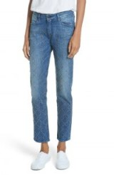 BROCKENBOW Cale Lily Studded Ankle Straight Leg Jeans in Tokyo Blue ~ stud covered denim