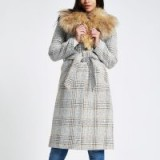 River Island Brown check print belted faux fur robe coat – glamorous winter coats