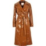 RIVER ISLAND Brown vinyl tie waist trench coat – shiny mac