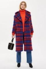TOPSHOP Brushed Check Zip Back Coat – blue & red checks