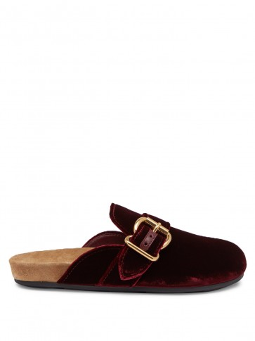 PRADA Buckled burgundy velvet backless loafers / dark red flat mules