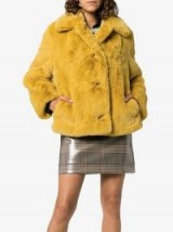 BURBERRY Yellow Teddy Faux Fur Coat / autumnal colour