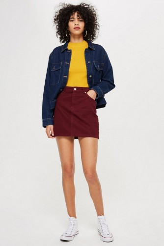 Topshop Burgundy Denim Skirt | dark red mini
