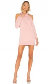 by the way. DELIA COLD SHOULDER SWEATSHIRT DRESS ROSE – hooded – rib knit trimmed