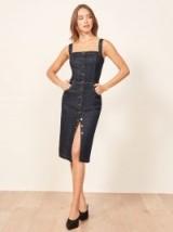 REFORMATION Camille Dress Hayes ~ dark blue denim